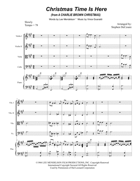 Christmas Time Is Here (for String Quartet)