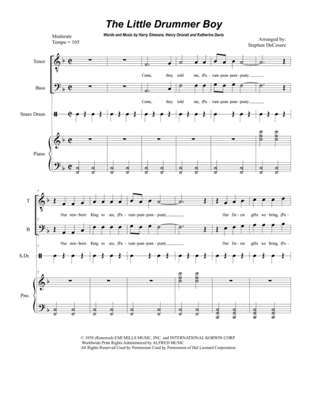 The Little Drummer Boy (Duet for Tenor and Bass Solo)