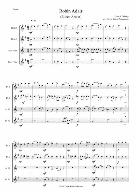 Robin Adair (Eileen Aroon) for flute quartet