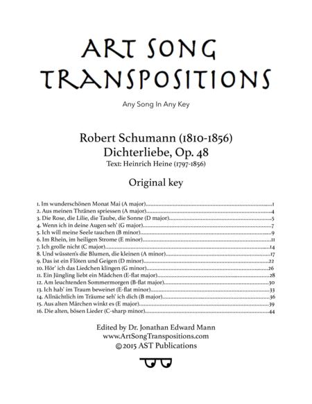 Dichterliebe, Op. 48 (Original key plus transposition down a major third)