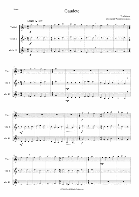 Gaudete for violin trio