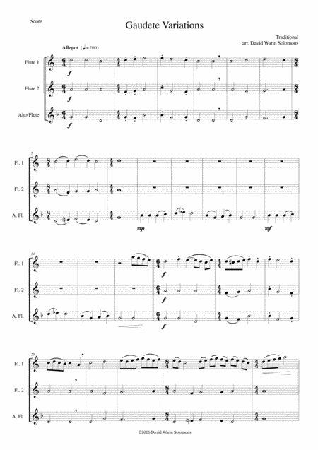 Gaudete Variations for flute trio