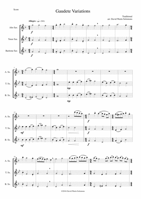 Gaudete Variations for saxophone trio