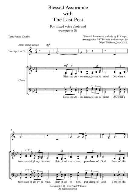 Blessed Assurance (SATB), The Last Post