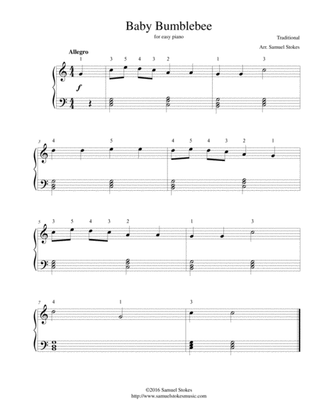 Baby Bumblebee - for easy piano