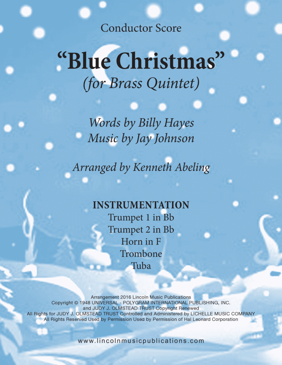 Christmas - Blue Christmas (for Brass Quintet)