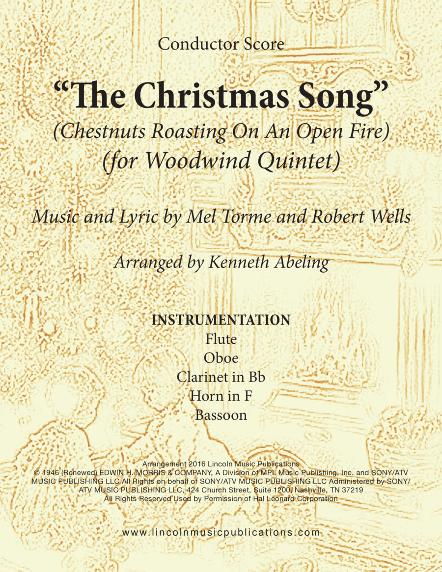 Christmas - The Christmas Song (Chestnuts Roasting On An Open Fire) (for Woodwind Quintet)