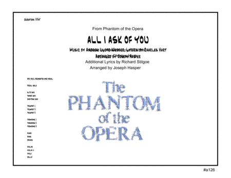 All I Ask Of You (Vocal Solo and Jazz Orchestra - score only)