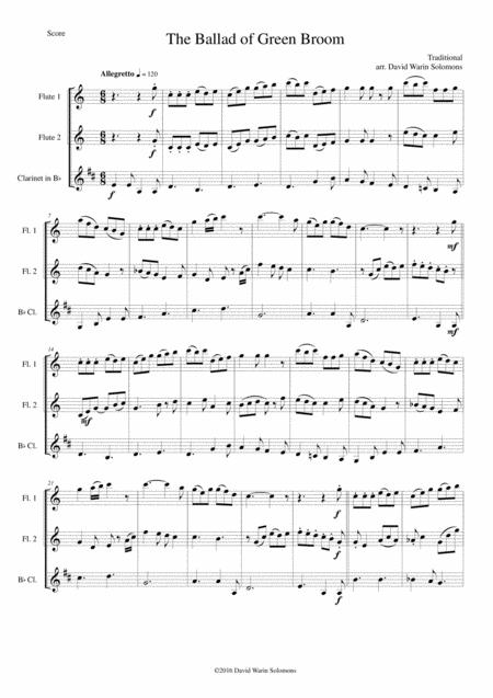 The Ballad of Green Broom for wind trio (2 flutes and clarinet)