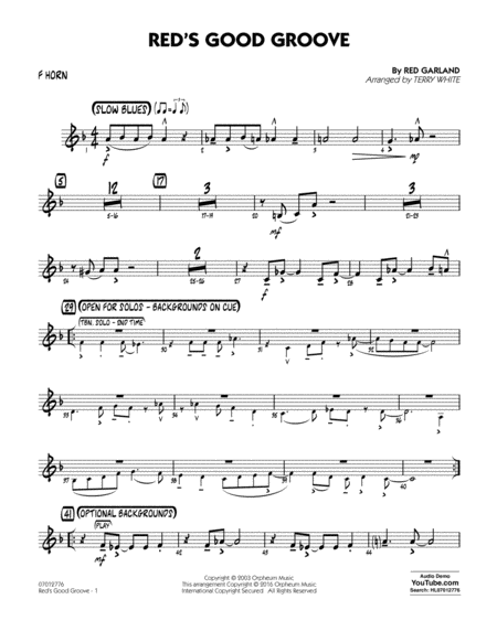 Red's Good Groove - F Horn