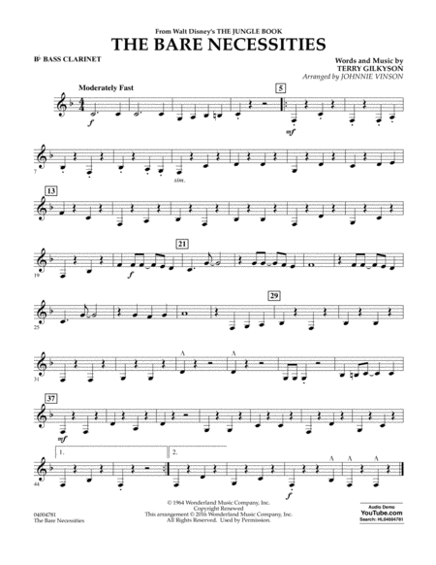 The Bare Necessities - Bb Bass Clarinet