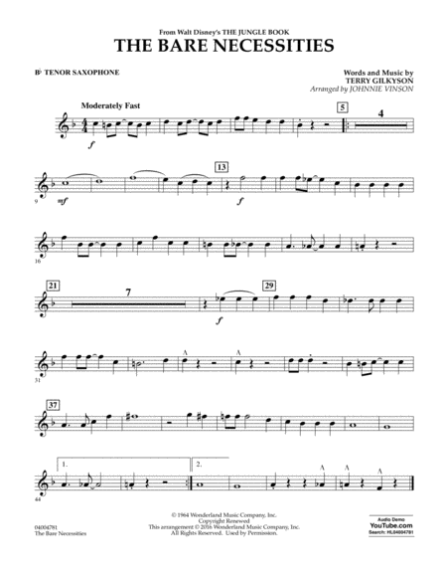 The Bare Necessities - Bb Tenor Saxophone