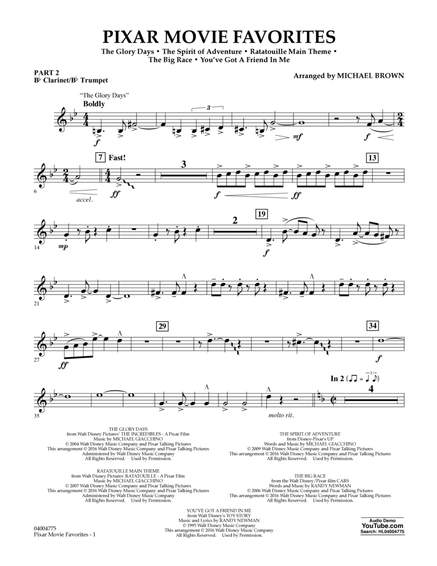 Pixar Movie Favorites - Pt.2 - Bb Clarinet/Bb Trumpet