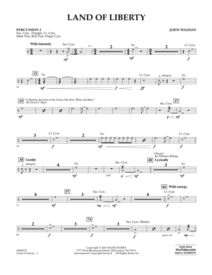 Land of Liberty - Percussion 2