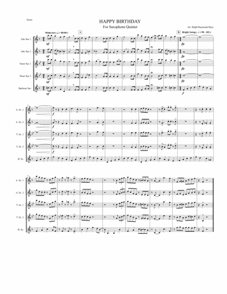 HAPPY BIRTHDAY for Saxophone Quintet