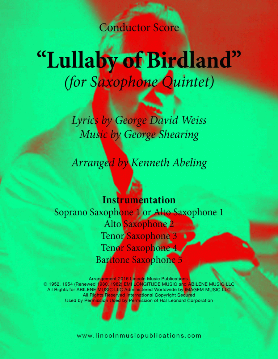 Jazz - Lullaby Of Birdland (for Saxophone Quintet)