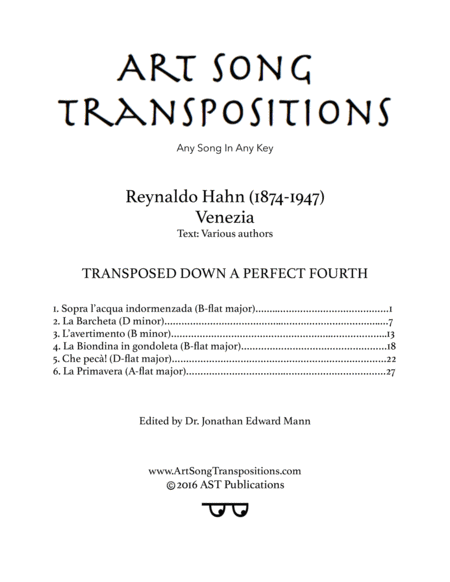 Venezia (Transposed down a perfect fourth)