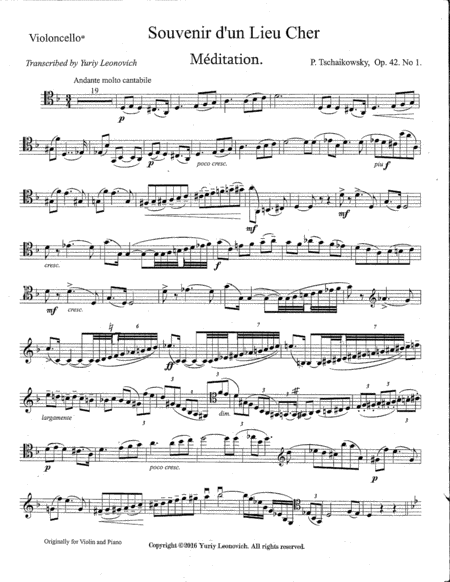 Meditation, Scherzo and Melodie, Op. 42 (transcribed for Cello and Piano)