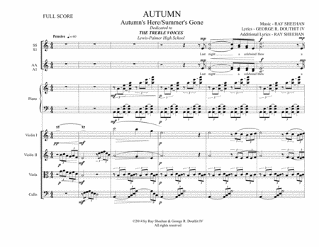 AUTUMN - For Treble Voices (SSAA) Piano & String Quartet