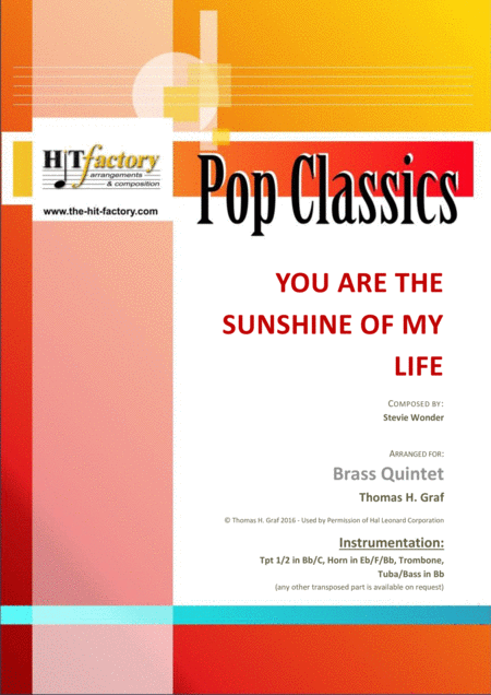 You are the sunshine of my life - Stevie Wonder Classic - Brass Quintet