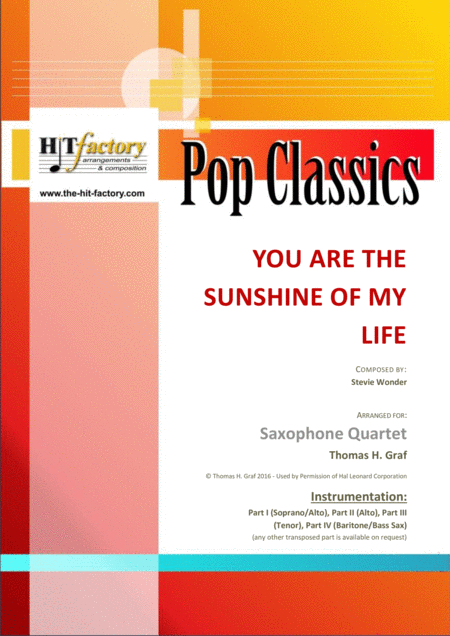 You are the sunshine of my life - Stevie Wonder Classic - Saxophone Quartet