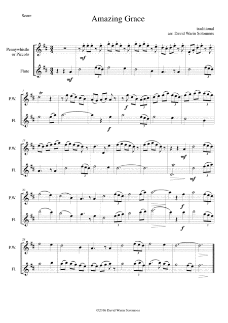 6 simple duets based on hymns, for penny whistle (or piccolo) and flute