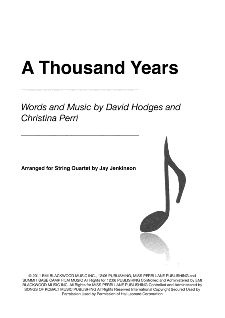 A Thousand Years for String Quartet