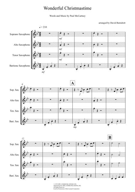 Wonderful Christmastime for Saxophone Quartet