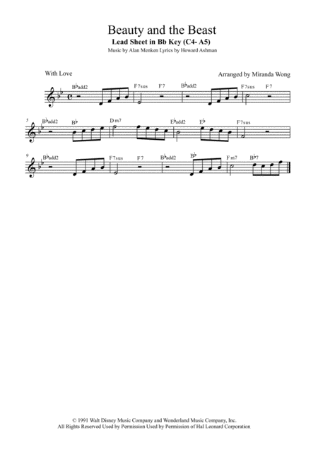 Beauty And The Beast - Lead Sheet in Bb Key (With Chords)
