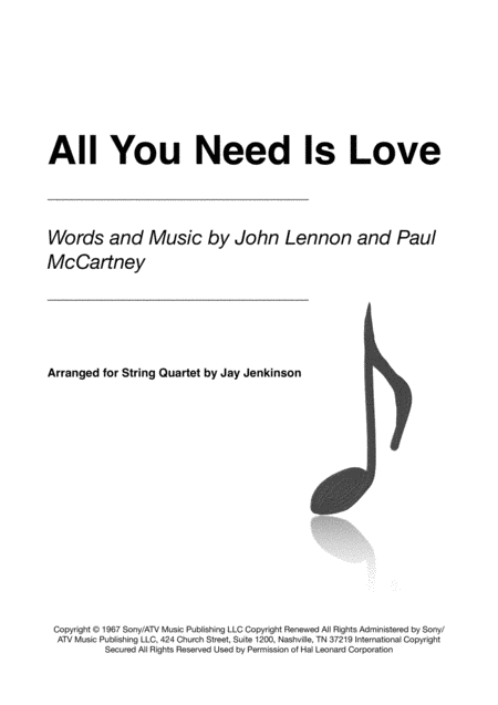All You Need Is Love for String Quartet