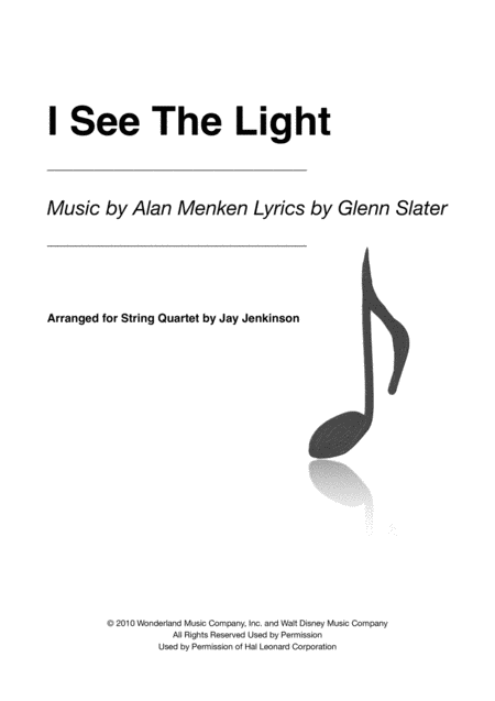 I See The Light for String Quartet