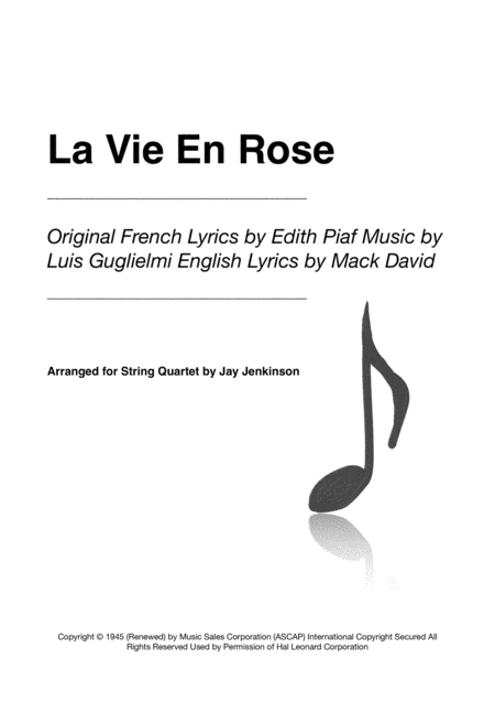 La Vie En Rose for String Quartet