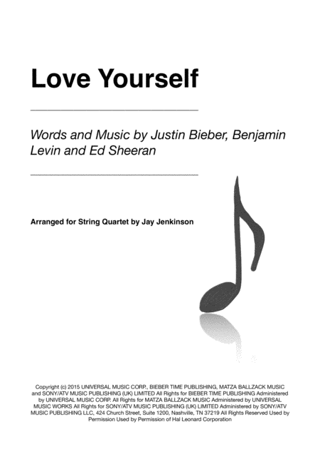 Love Yourself for String Quartet