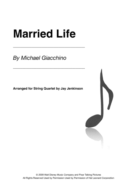 Married Life for String Quartet