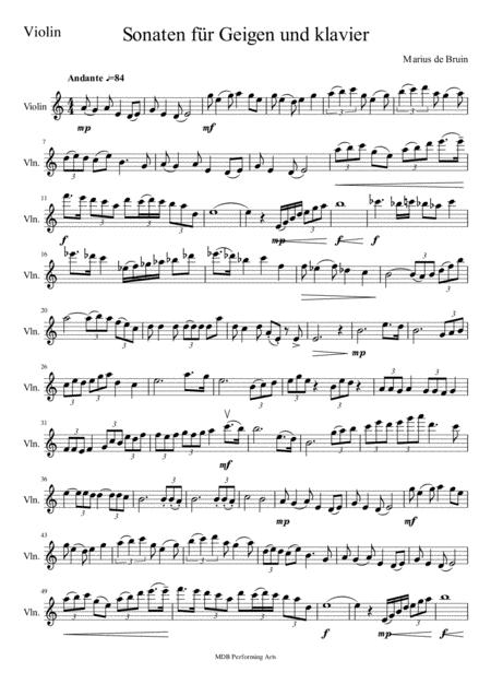 Sonate for violin and piano Movement 1 Violin score