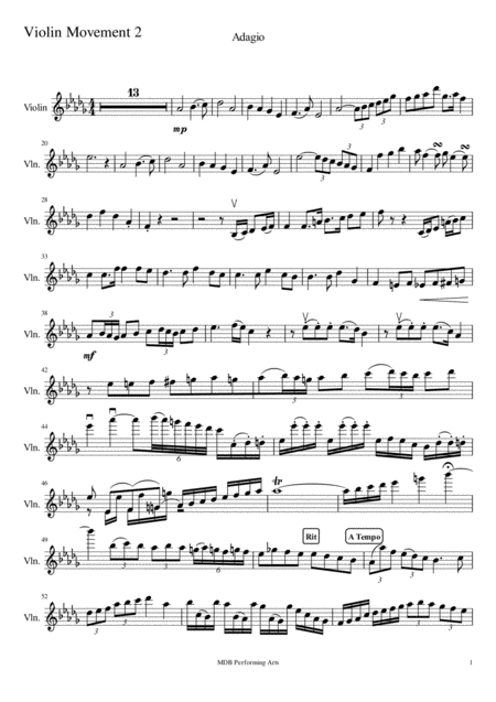 Sonate for violin and Piano Movement 2 Violin score