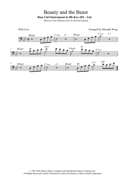 Beauty And The Beast - Cello Solo in Bb (With Chords)