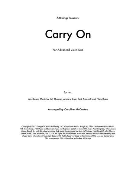 Carry On - Violin Duet