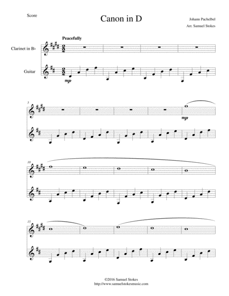 Canon in D (Pachelbel) - for Bb clarinet and guitar