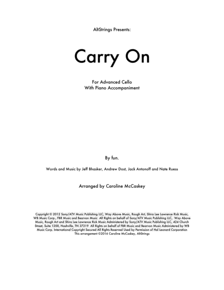 Carry On - Cello Solo, Piano Accompaniment