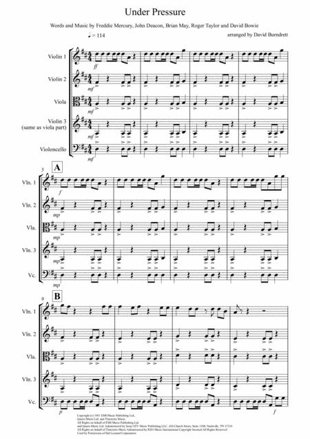 Under Pressure for String Quartet