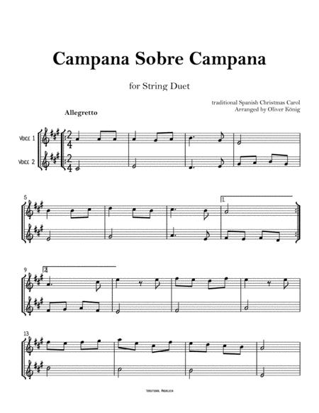 Campana sobre Campana, Spanish Christmas Carol-for String Duet