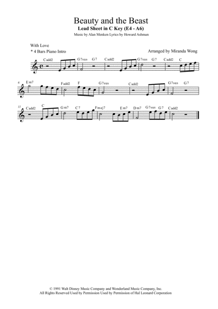 Beauty And The Beast - Alto Saxophone Solo