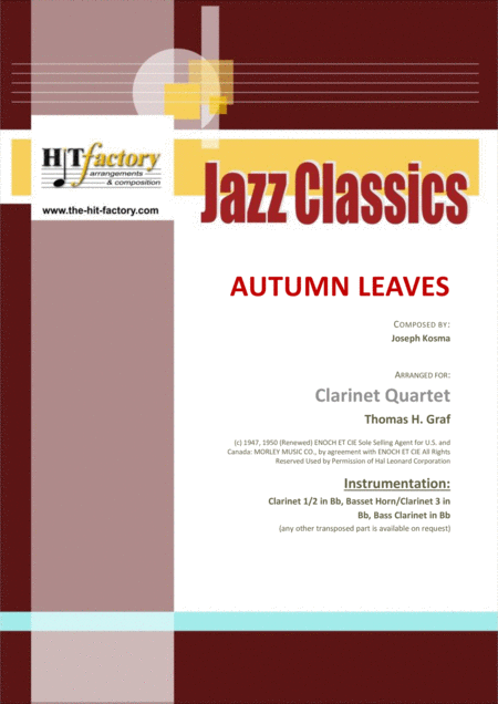 Autumn Leaves - Jazz Classic - Les feuilles mortes - Clarinet Quartet
