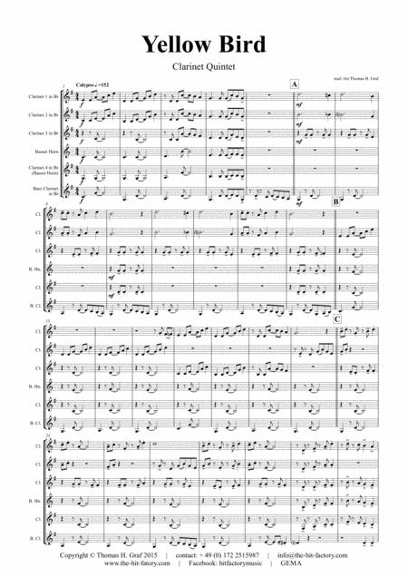 Yellow Bird - Haitian Folk Song - Calypso - Clarinet Quintet