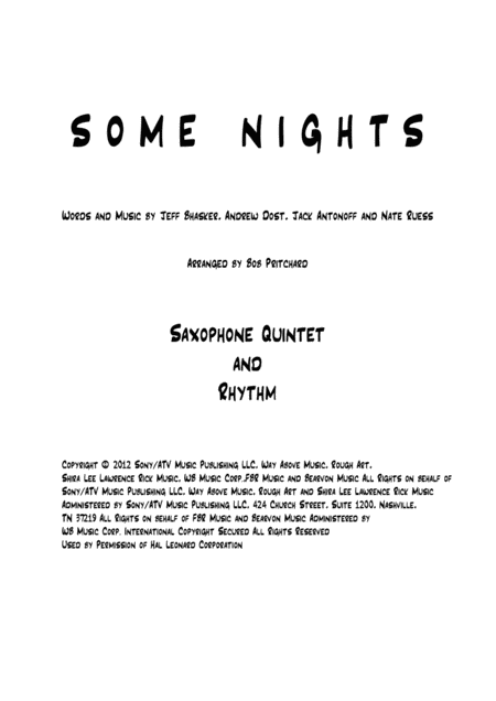 Some Nights for Saxophone Quintet and Rhythm