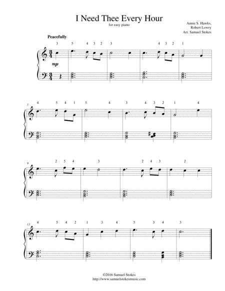 I Need Thee Every Hour - for easy piano