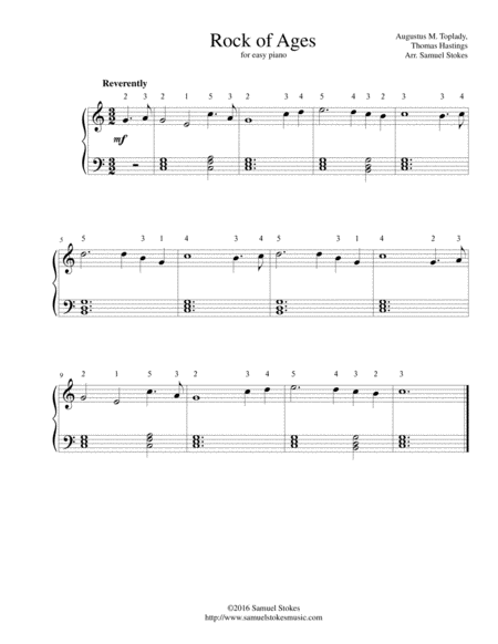 Rock of Ages, Cleft for Me - for easy piano