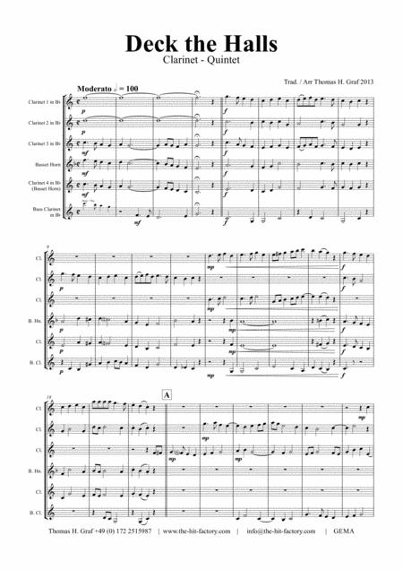 Deck the halls - Christmas Carol - Polyphonic - Clarinet Quintet