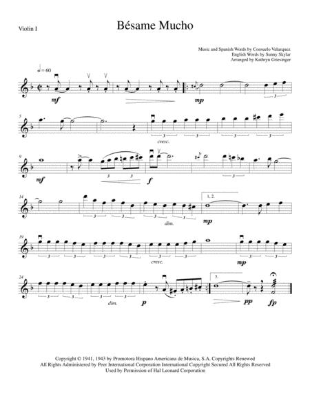 Besame Mucho (Kiss Me Much) - String Quartet